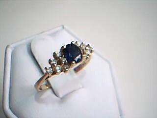 Blue Stone Lady's Stone & Diamond Ring 12 Diamonds .12 Carat T.W.