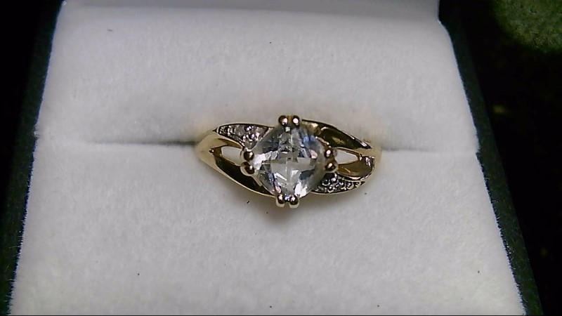 Aquamarine Lady's Stone & Diamond 10K Yellow Gold Ring Size 6.8