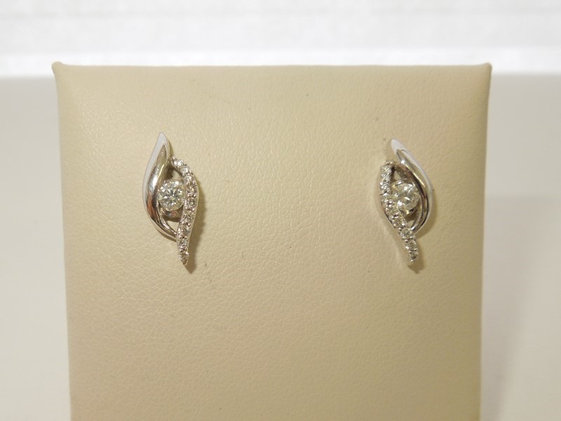 Gold-Diamond Earrings 20 Diamonds .38 Carat T.W. 14K White Gold 2.1g