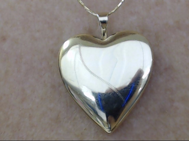 REVERSIBLE SOLID 10K WHITE YELLOW GOLD HEART LOCKET PENDANT CHARM
