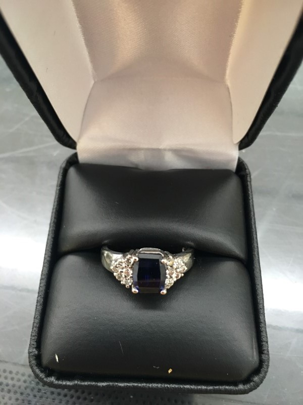 Blue Stone Lady's Stone & Diamond Ring 12 Diamonds .24 Carat T.W.
