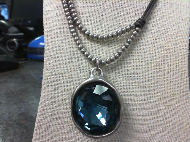 Uno de 50 Blue Stone Necklace Silver Plate 51.1g