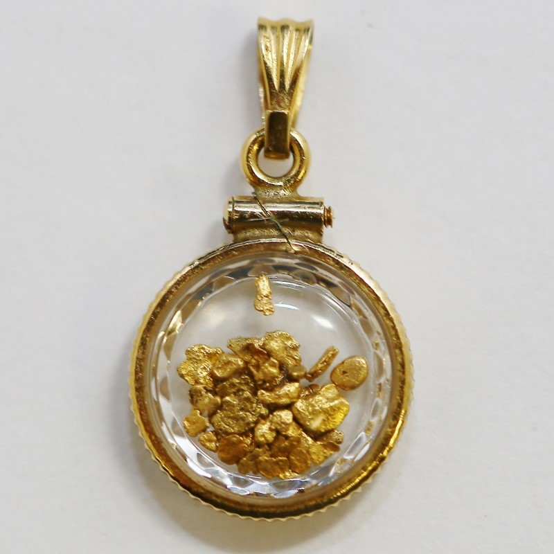 10K Yellow Gold Bezel Pendant with 24K Gold Flake Nuggets in Glass