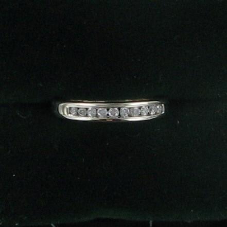 Lady's Diamond Wedding Band 10 Diamonds .20 Carat T.W. 14K White Gold 2.1dwt