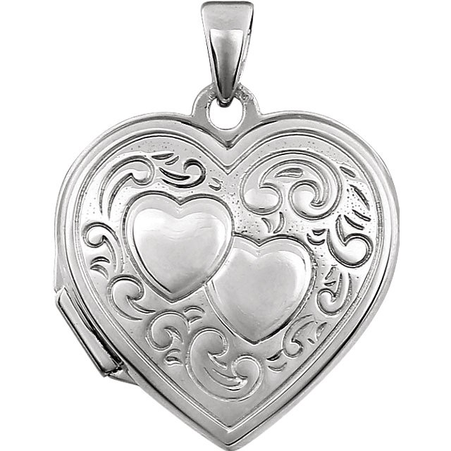 lady's sterling silver 925 double heart locket