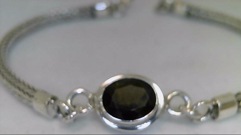 lady's sterling silver oval brown stone bracelet