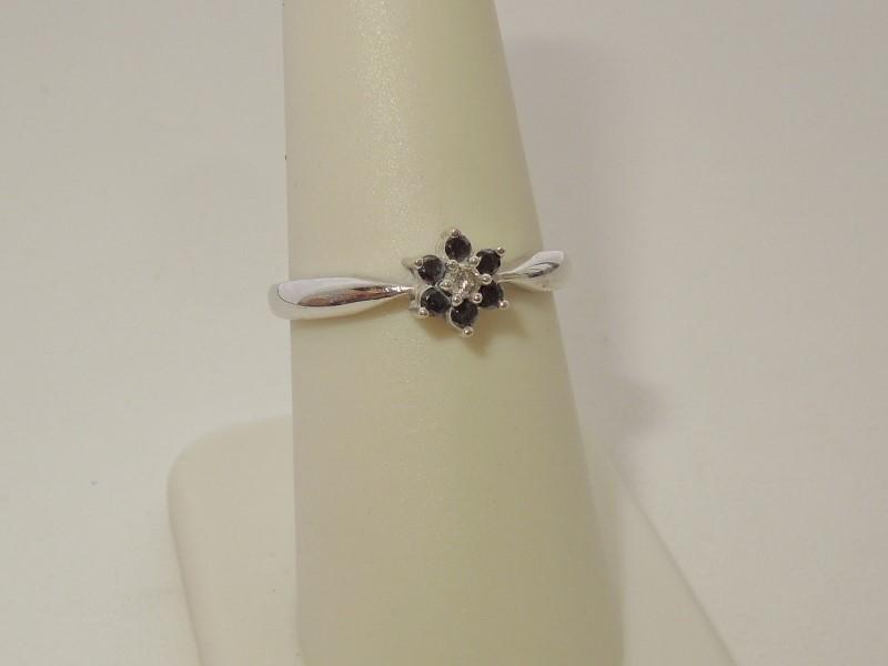 Black Stone Lady's Stone & Diamond Ring .03 CT. 14K White Gold 1.9g Size:7.5