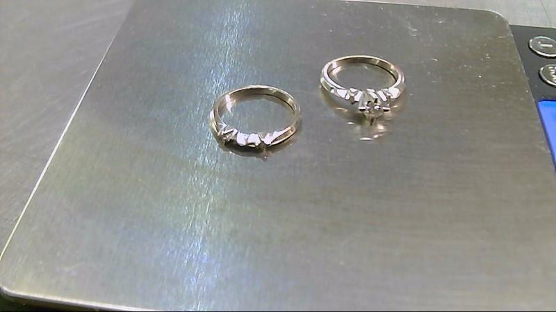 Lady's Diamond Engagement Ring 5 Diamonds .24 Carat T.W. 14K White Gold 4.39g