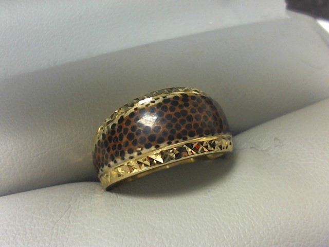Synthetic Agate Lady's Stone Ring 14K Yellow Gold 3.2g