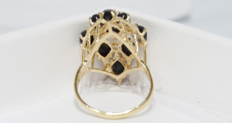 Onyx Lady's Stone & Diamond Ring 3 Diamonds .06 Carat T.W. 14K Yellow Gold