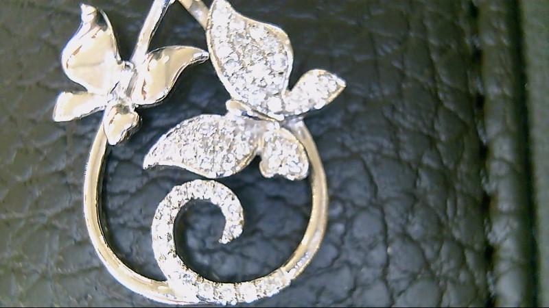 Beautiful Butterfly Diamond Sterling Silver Pendant