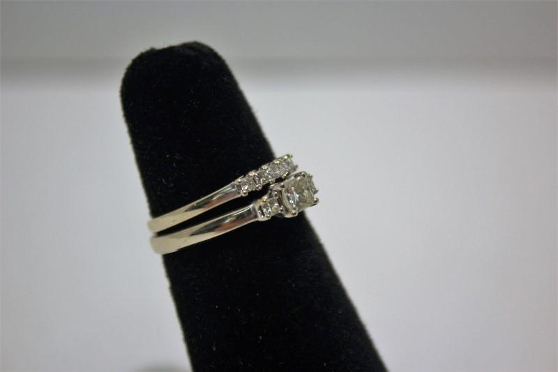 Lady's Diamond Wedding Set 8 Diamonds .55 Carat T.W. 14K White Gold 4.8g Size:7