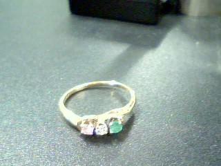 Green Stone Lady's Stone & Diamond Ring .05 CT. 14K Yellow Gold 1.8g