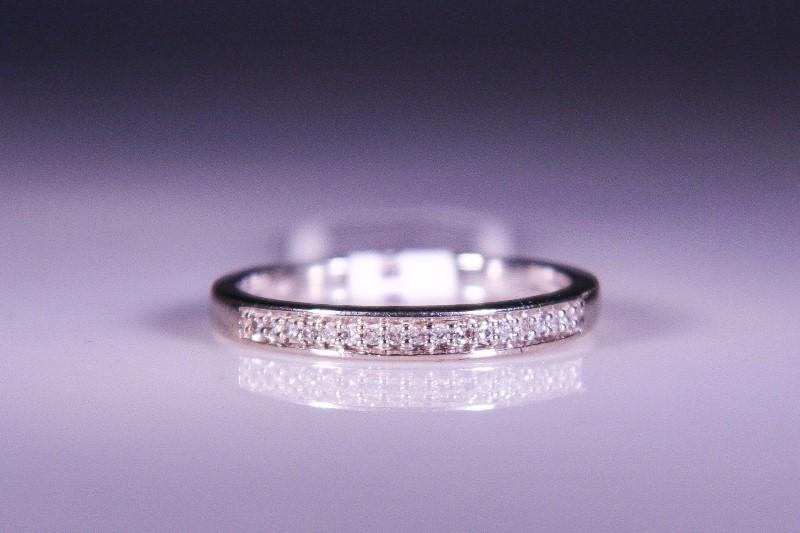 Lady's Diamond Wedding Band 18 Diamonds .18 Carat T.W. 10K White Gold 2.1g