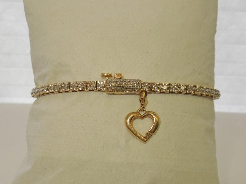Gold-Diamond Bracelet 85 Diamonds 1.43 Carat T.W. 10K Yellow Gold 11.1g