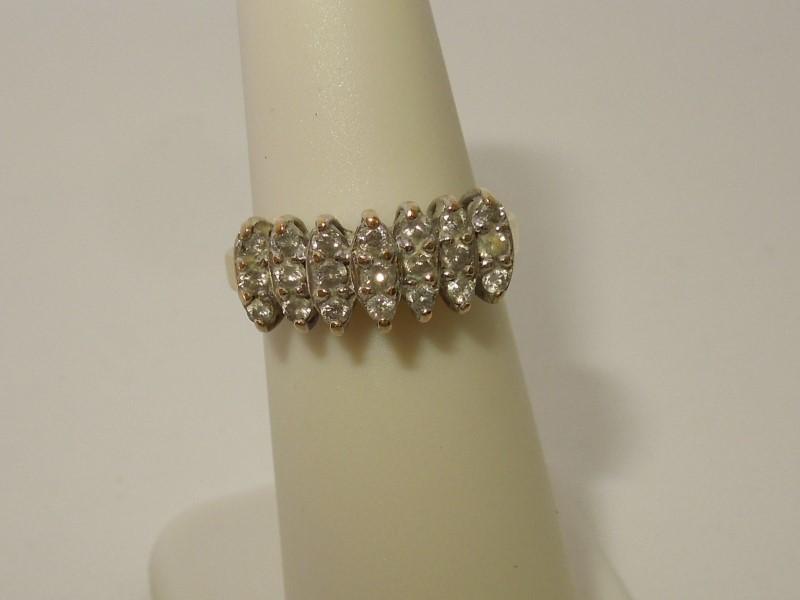 Lady's Diamond Cluster Ring 21 Diamonds .42 Carat T.W. 10K Yellow Gold 2.6g