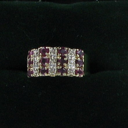 Synthetic Ruby Lady's Stone & Diamond Ring 9 Diamonds .18 Carat T.W.