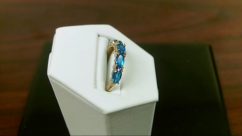 Blue Topaz Lady's Stone Ring 14K Yellow Gold 1.5g