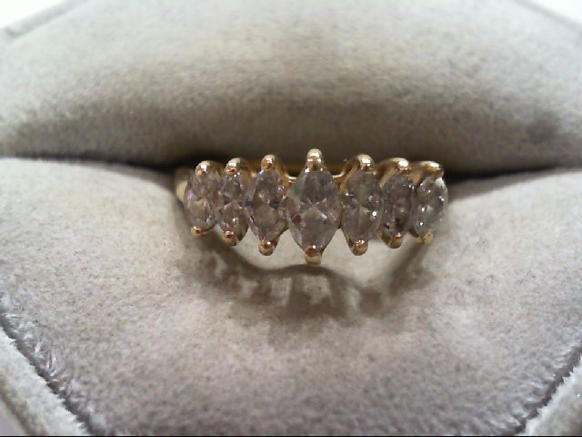 Lady's Diamond Cluster Ring 7 Diamonds 1.14 Carat T.W. 14K Yellow Gold 2.5g