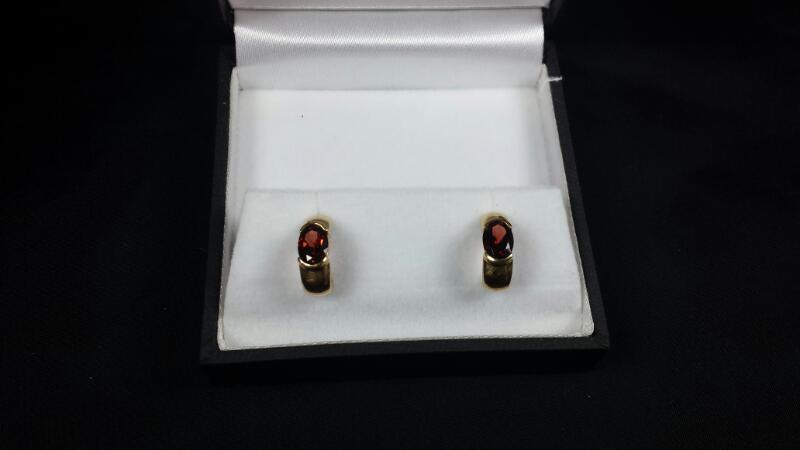 Almandite Garnet 14K Yellow Gold Earrings