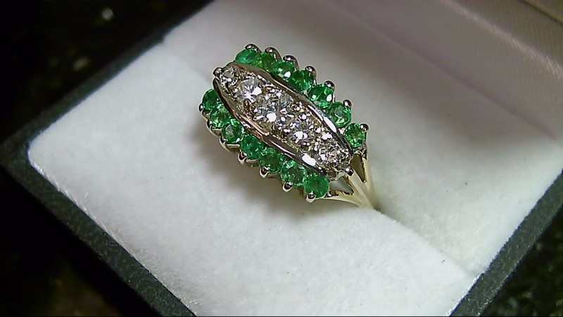 Genuine Emerald Cluster with 1/2 CTTW Diamond Yellow Gold Ring