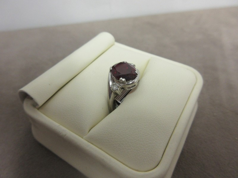 Red Stone Lady's Stone & Diamond Ring 2 Diamonds .10 Carat T.W. 10K White Gold
