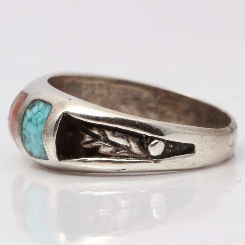Sterling Silver Ring With Black, Red & Teal Stones Size 6.5