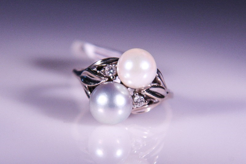 White Stone Lady's Stone & Diamond Ring 2 Diamonds .06 Carat T.W.