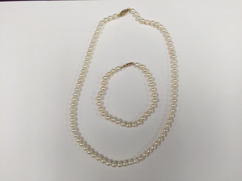 "16"" Pearl Necklace 10K Yellow Gold Clasp w/ 7"" Bracelet 4mm"