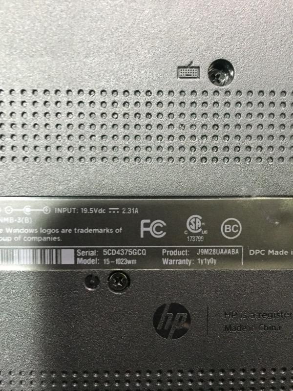 HP 15-f023wm 15.6'' Touchscreen Laptop 4GB 500GB Celeron N2920 Quad-Core 1.86GHz