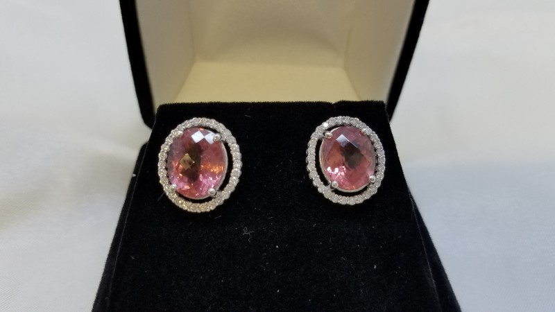 4.0 TCW Pink Tourmaline 0.60 TCW Diamond Halo Stud Earrings 14k