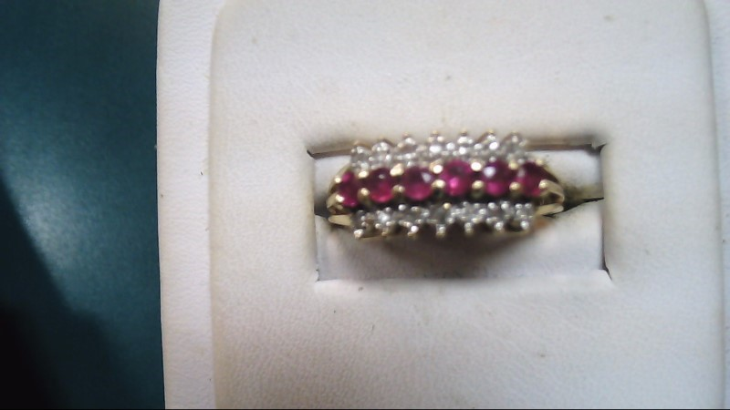 Red Stone Lady's Stone & Diamond Ring 14 Diamonds .14 Carat T.W.
