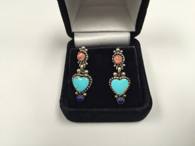 Synthetic Turquoise Silver-Stone Earrings 925 Silver 5.3g