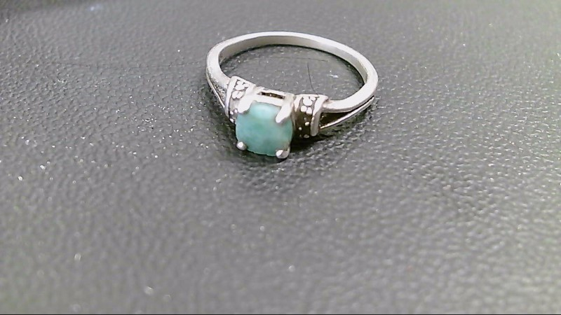 Synthetic Jade Lady's Silver & Stone Ring 925 Silver 2.5g