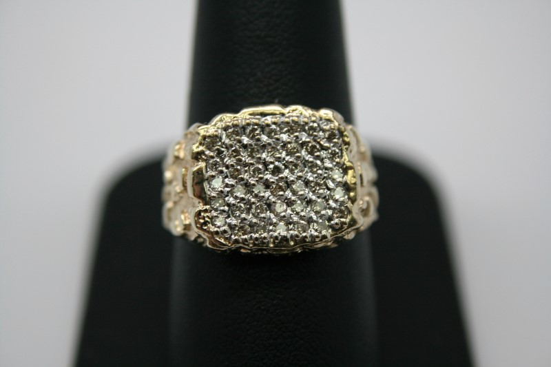 GENT'S NUGGET STYLE DIAMOND RING 10K YELLOW GOLD