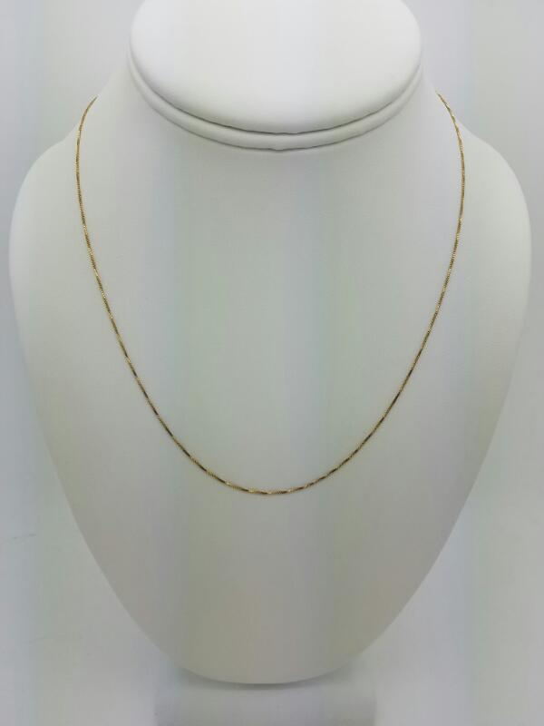 "18"" BOX-OPEN Gold Box Chain 14K Yellow Gold 0.7dwt"