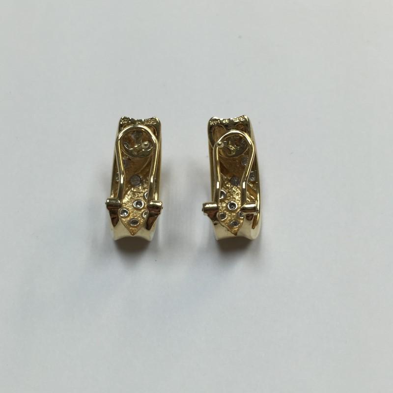 Gold-Diamond Earrings 26 Diamonds .28 Carat T.W. 14K Yellow Gold 4dwt