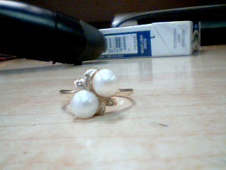 Synthetic Pearl Lady's Stone & Diamond Ring 4 Diamonds .04 Carat T.W.