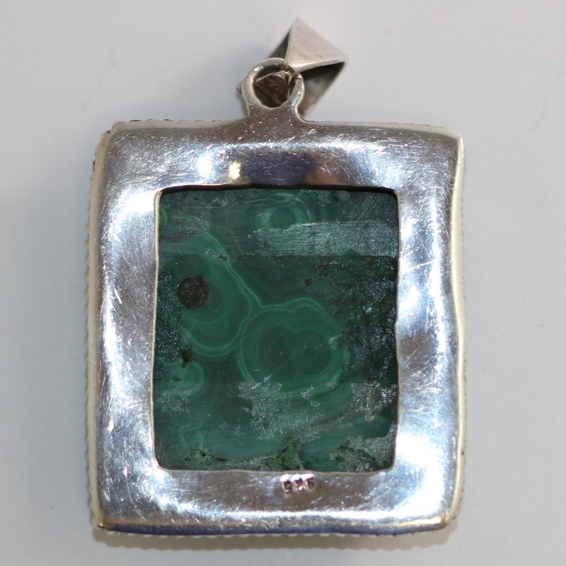 Sterling Silver Malachite Square Pendant