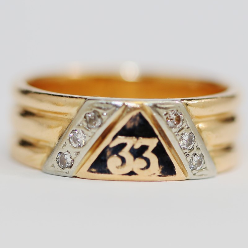 Men's Masonic 14K Yellow Gold Diamond Ring Size 11