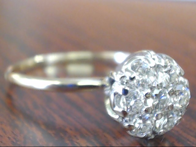 VINTAGE NATURAL DIAMOND CLUSTER RING SOLID 14K GOLD ENGAGE SIZE 9.5