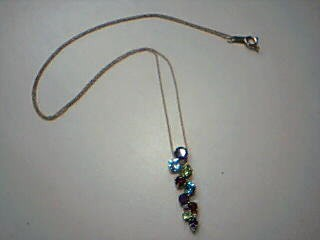 Purple Stone Stone Necklace 10K Yellow Gold 2.4g