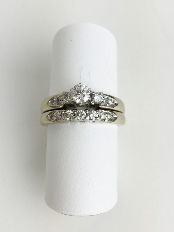 Lady's Diamond Wedding Set 14 Diamonds .38 Carat T.W. 14K White Gold 5.4g