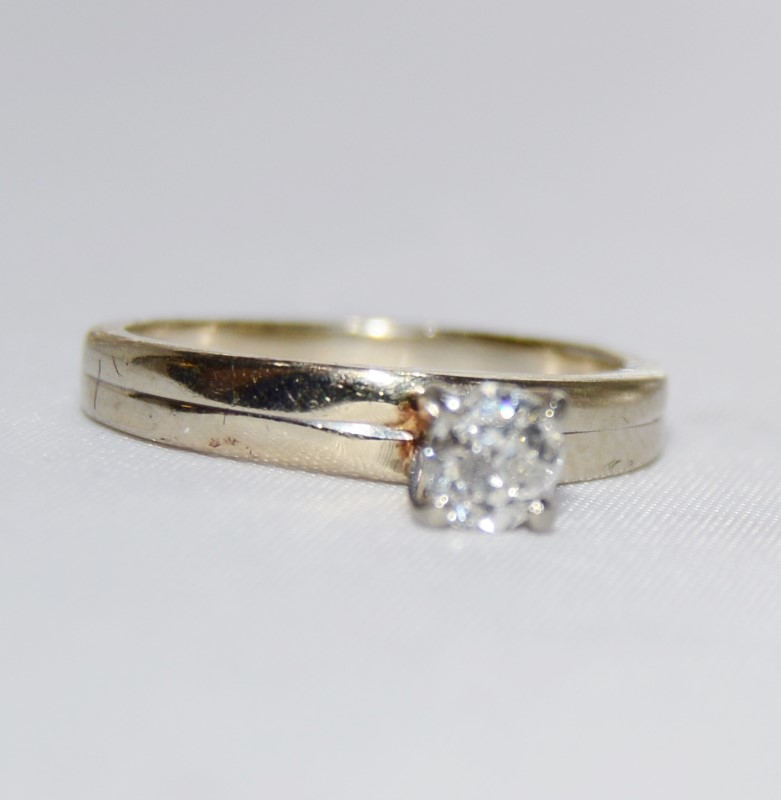 14K White Gold Simple .25ct 1/4 Mine Round Diamond Solitaire Engagement Ring s 5
