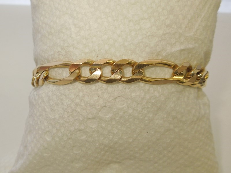 Gold Figaro Bracelet 14K Yellow Gold 22.8g