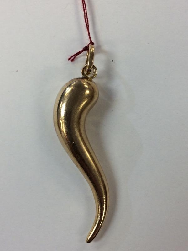 Itailan Gold Horn Pendant 14K Yellow Gold 2.6g