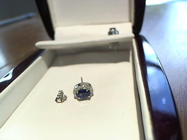 Sapphire Gold-Diamond & Stone Earrings 12 Diamonds .12 Carat T.W.