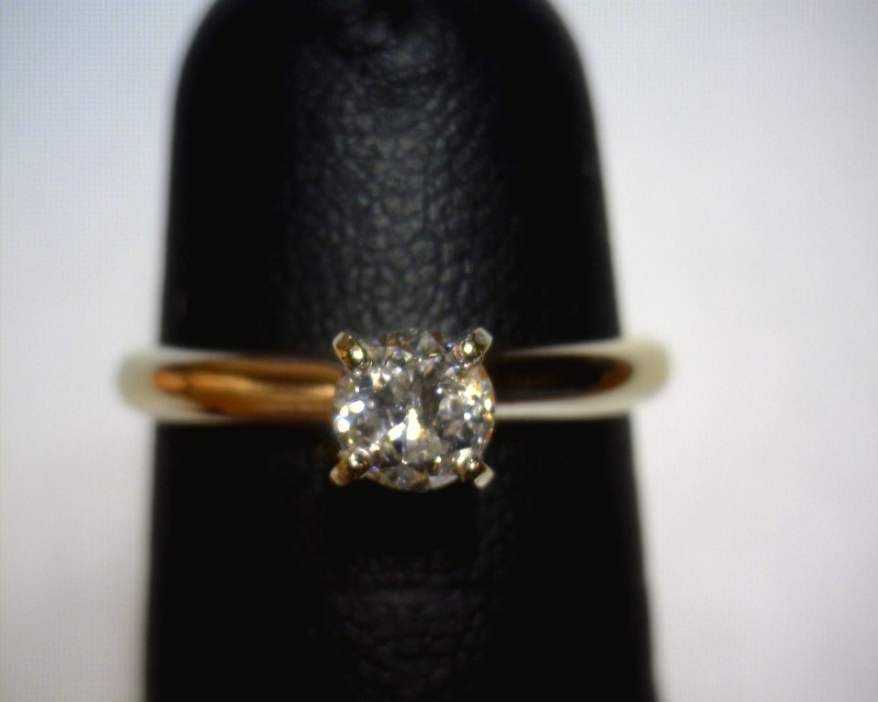Lady's Diamond Solitaire Ring .50 CT. 14K White Gold 1.4dwt Size:5