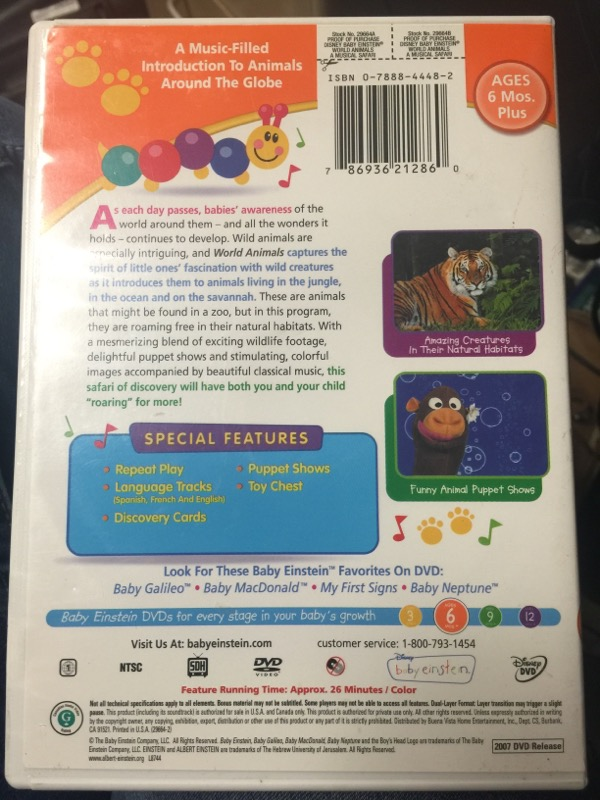 DVD BABY EINSTEIN WORLD ANIMALS A MUSICAL SAFARI