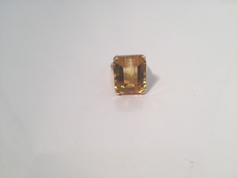Citrine Lady's Stone Ring 10K Yellow Gold 10.5g Size:6.5